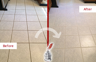 Before and After Picture of a Burlington Kitchen Ceramic Floor Sealed to Protect From Dirt and Spills