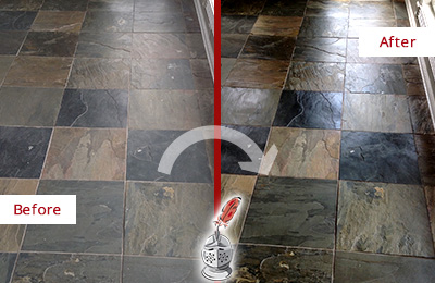Before and After Picture of a Dull Burlington Slate Floor Sealed to Bring Back Its Colors