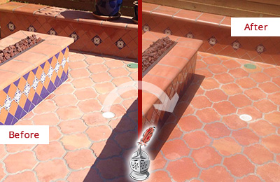 Before and After Picture of a Dull Burlington Terracotta Patio Floor Sealed For UV Protection