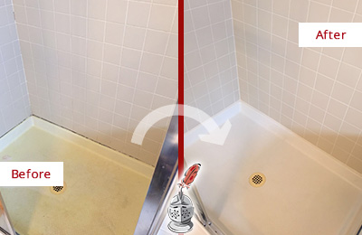 Before and After Picture of a Burlington Shower Sealed to Remove and Protect Against Mold