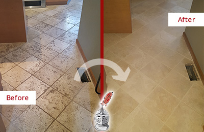 Before and After Picture of a Orange Kitchen Marble Floor Cleaned to Remove Embedded Dirt