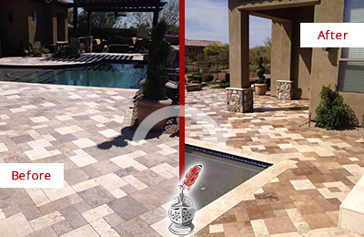 Before and After Picture of a Dull Orange Travertine Pool Deck Cleaned to Recover Its Original Colors