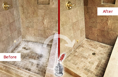 Before and After Picture of a Orange Travertine Shower Cleaned to Eliminate Water Spots