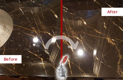 Before and After Picture of a Watertown Marble Countertop Cleaned to Remove Water Spots