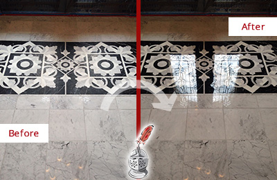 Before and After Picture of a East Berlin Marble Stone Sealed to Recover Its Sheen