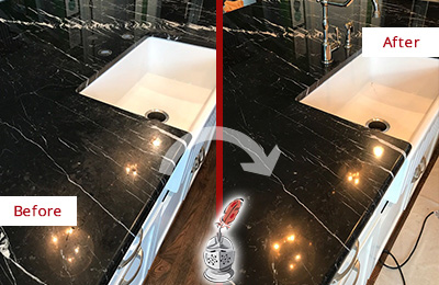 Before and After Picture of a Avon Marble Kitchen Countertop Stone Sealed to Avoid Water Damage