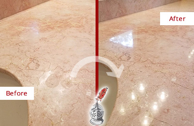 Before and After Picture of a Watertown Marble Stone Vanity Top Sealed to Avoid Water Marks