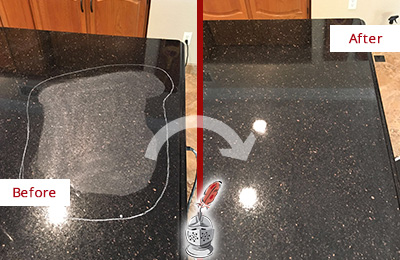 Before and After Picture of a Bloomfield Granite Kitchen Countertop Honed to Eliminate Scratch