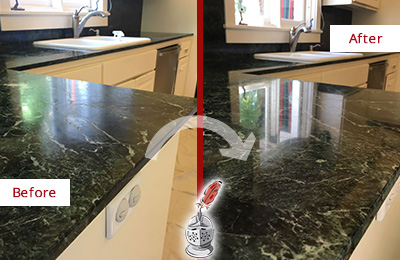 Before and After Picture of a Portland Marble Kitchen Countertop Honed to Remove Water Marks