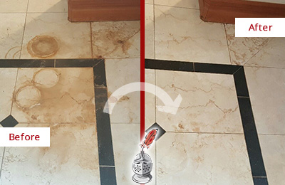 Before and After Picture of a Bloomfield Marble Floor Honed to Remove Rust Stains