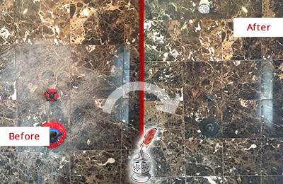 Before and After Picture of a East Berlin Marble Shower Honed to Remove Scratches