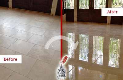 Before and After Picture of a Southbury Hard Surface Restoration Service on a Dull Travertine Floor Polished to Recover Its Splendor