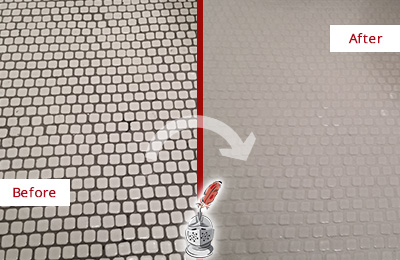 Before and After Picture of a Madison Mosaic Tile floor Grout Cleaned to Remove Dirt