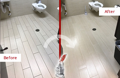 Before and After Picture of a Manchester Office Restroom's Grout Cleaned to Remove Dirt