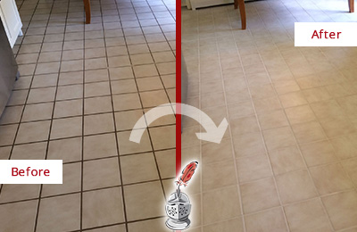 Before and After Picture of a Granby Kitchen Tile Floor with Recolored Grout