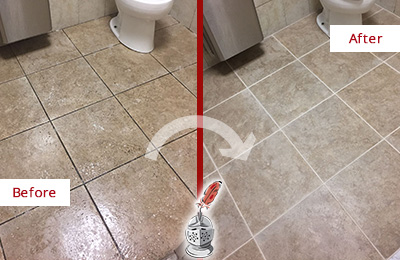 Before and After Picture of a Granby Office Restroom Floor Recolored Grout
