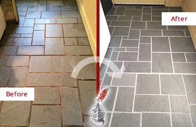 Before and After Picture of Damaged New Britain Slate Floor with Sealed Grout
