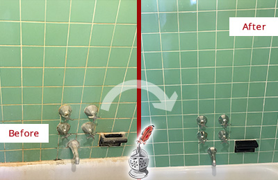 Before and After Picture of a Avon Bath Tub Grout Sealed to Avoid Water Damage