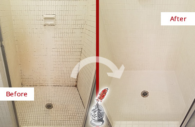 Before and After Picture of a Avon Bathroom Grout Sealed to Remove Mold