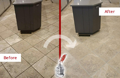 Before and After Picture of a Madison Kitchen Floor Grout Sealed to Remove Stains