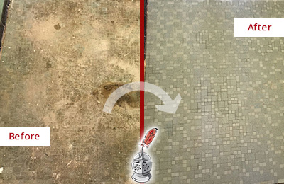 Before and After Picture of a Middletown Mosaic Shower Cleaned to Eliminate Embedded Dirt
