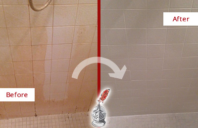 Before and After Picture of a Middletown Porcelaine Shower Cleaned to Remove Soap Scum